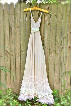 Custom Wedding dress Eco Boho romantic slip by amandarosebridal, $300.00