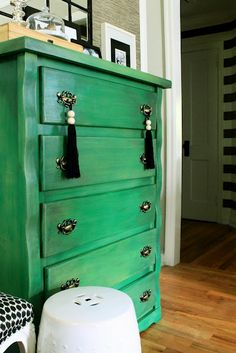 Painted dresser! Makes you think about that old furniture you bypass at the yard sale. You can totally transform it!