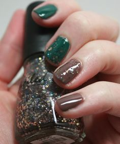 green and brown with glitter - Fall nails
