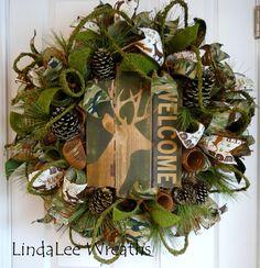 Deer Wreath, Welcome Wreath, Camouflage Wreath, Deco Mesh Wreath, Country Wreath, Woodlands Wreath, Country Decor, Woodlands Decor by LindaLeeWreaths on Etsy https://www.etsy.com/listing/248813244/deer-wreath-welcome-wreath-camouflage