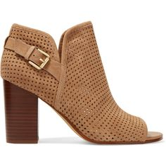 Sam Edelman Easton perforated suede ankle boots (250 BRL) ❤ liked on Polyvore featuring shoes, boots, ankle booties, light brown, bootie boots, pull on ankle boots, high heel boots, ankle boots and sam edelman boots