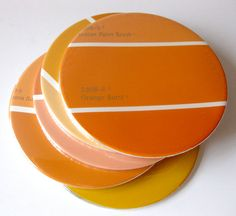 50 fun things to do with paint chip samples....there are some new, wonderful ideas here...including these coasters!