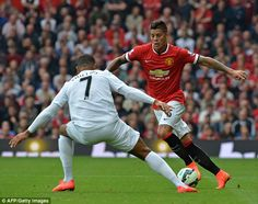 Manchester United's Argentinian defender Marcos Rojo crosses the ball during the English Premier League football match between Manchester United and Queens Park Rangers at Old Trafford in Manchester, north west England on September 2014 Manchester United 2014, Manchester United Football, Argentina Team, Pier Paolo Pasolini, Queens Park Rangers, Van Persie, English Premier League, Football Match, Old Trafford