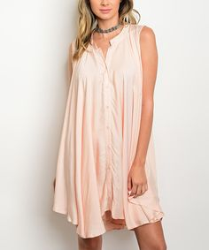 Take a look at this Blush Button-Up Shift Dress today!