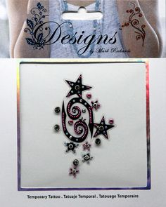 "One jeweled embellished temporary tattoo on a 3.25"" x 3.25"" sheet."