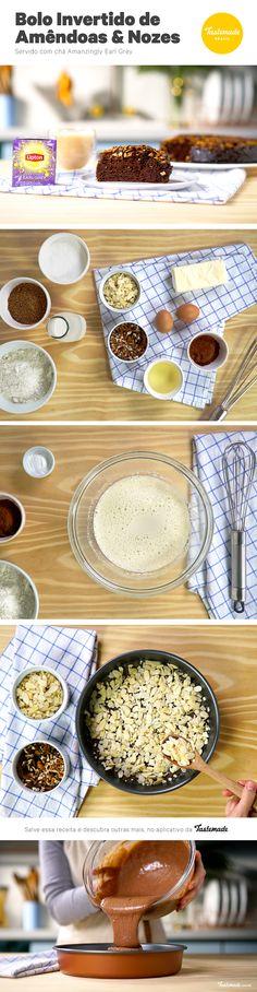 Um delicioso bolo invertido de amêndoas e nozes harmoniza super bem com um chá latte.  Receita completa: https://taste.md/2wpVpLW