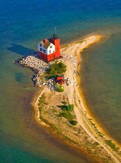 Round Island Lighthouse, Mackinaw Island Michigan.