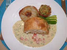 Lunch onboard #MegaYacht Kipany. Fresh New England fish in filo on sauce with potato tarte tatin.