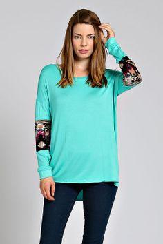 Jade Sequin Aztec Sleeve Tunic Top