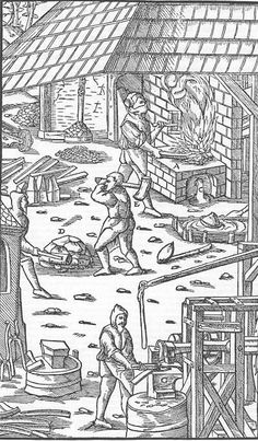 A print from De Re Metallica by Georgius Agricola, published in Latin in 1556 - note the lever controlling the sluice to the water wheel that allows the smith to adjust the hammer speed, and to save water when not forging.. Here they are forge welding iron bars. The complete text and illustrations are available on line at: http://www.gutenberg.org/files/38015/38015-h/38015-h.htm#Page_423