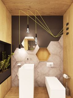 This bathroom is just unbelievably cool - everything from those large hexagon tiles to that crazy lighting arrangement is bang on! Tiny Bathrooms, Beautiful Bathrooms, Bad Inspiration, Bathroom Inspiration, Mirror Inspiration, Simple Bathroom, Modern Bathroom, Bathroom Ideas, Bathroom Renovations