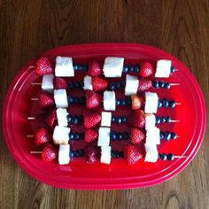 Red (strawberries) White (Angel Food Cake) & Blue (Blueberry) Kabobs