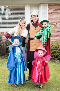 Best Halloween for Family and Kids, Sleeping Beauty Family Theme with Fairies kid costume, Best Homemade Costumes Disney Family Costumes, Disney Halloween Costumes, Halloween Cosplay, Halloween Kids, Halloween 2019, Zombie Costumes, Kid Costumes, Couple Costumes, Group Costumes