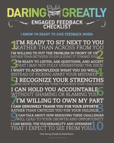 Daring Greatly Engaged Feedback Checklist   Dr. Brene Brown