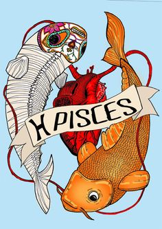 PISCES, Limited edition zodiac sign, Original Illustration, Fine Art Print, Fish, skeleton, anatomical heart by CorazonBeats on Etsy https://www.etsy.com/listing/226043460/pisces-limited-edition-zodiac-sign