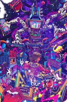 Dubstep machine is invading rockn roll city! Pop Art Wallpaper, Graffiti Wallpaper, Trippy Wallpaper, Graffiti Art, Acid Wallpaper, Dubstep, Vaporwave Wallpaper, Psychadelic Art, Trippy Painting
