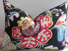 Both Sides-14X20 Decorative Pillow Cover Braemore Home Decor Fabric-Floral-Throw Pillow-Accent Pillow-Toss Pillow-Couch Pillow-Black