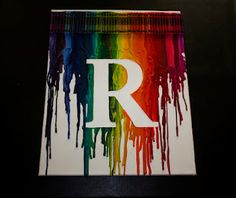 crayon melt art with initial- definitely love this twist on it!