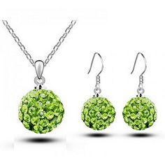 HSG Luxus Frauen Kugel geformt Halskette Ohrringe Hot glaenzenden runden Schmuck-Set - http://schmuckhaus.online/hsg/hsg-luxus-frauen-kugel-geformt-halskette-hot-set