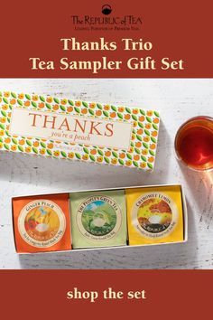 Looking for the perfect host gift? Our Thanks Tea Sampler is a delicious gift for Thanksgiving hosts, or your perfect intro to Fall flavors. Click to shop now, or save to shop later. #HostGifts #GiftsForHost #ThanksgivingGift
