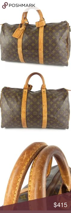 "Authentic Louis Vuitton keepall 45 Gently used. Some marks on the leather. Handles in good condition. Zipper leather pull is torn. There are some general mark and scuffs but overall in good condition.   W 18.1x H 9.8x D 8.3"" Louis Vuitton Bags Travel Bags"