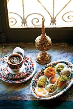 ✿ ❤ Turkish Coffee ☕ Honeyed sweets and Turkish coffee at Dar El Jeld, a restaurant in a centuries-old home in the Tunis medina.