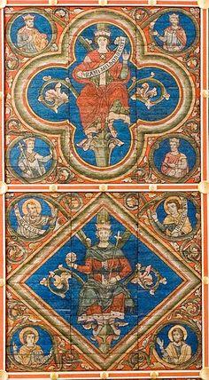 Hildesheim-st.Michael-Holzdecke-David-Salomo-Hildesia - Chiesa di San Michele (Hildesheim) -  Particolare dello splendido soffitto risalente al XII secolo.