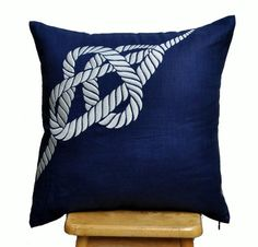 RopeThrow Pillow Cover, Nautical Pillow Cover,  White Rope On Navy Blue Pillow, Pillow Accent Navy, Pillow Case 18 x 18 $24 Etsy