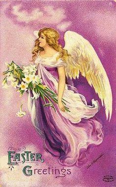 Easter Angel Vintage Postcard Printed onto Fabric