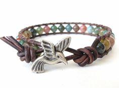 Hummingbird wrap bracelet, gift idea for best friend, childrens bracelets, boho jewelry, beaded leather jewellery