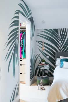 Tropical Palm Leaves Wallpaper Mural | MuralsWallpaper Living Room Murals, Wall Murals, Palm Leaf Wallpaper, Tree Stencil, Tree Decals, Wall Decor, Country Farm, Minimalist Style, Tropical Paradise