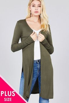 cdaea09cf7 Imported Rayon Spandex Olive ACT Ladies fashion plus size long sleeve open  front side slit tunic length rayon spandex rib cardigan Item Measurements   SIZE ...