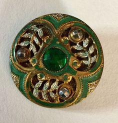 Green Glass Jewel Cold Enamel Cut Steel GESCH Antique Button Old Backmark