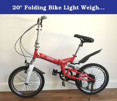 """20"""" Folding Bike Light Weight with multi colors (Red) with a free carrier bag. Frame: 20"""" Hi-Tensile Steel folding frame Fork: 20"""" Hi-Tensile Steel Suspension fork Shock: Spring Shock Chain: KMC chain Right Shifter: 6 SPEED SHIMANO Rims: Aluminum Alloy Tires: 20 x 1.75"""" ANTISKID Pedals: Foldable Brake: V-Brake Handlebar: Steel handlebar and stem Grips: Black rubber Kickstand: Steel Overall Dimensions: 60.2 x 25 x 35.8in Folded Dimensions: 34 x 9 x 23in Bike Weight: 30 LB SEAT POST:..."""
