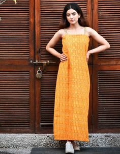 Mustard Ikat Slip Dress from the house of Threeness. Inspired by Indian crafts, Threeness presents you Indian Crafts, Western Dresses, Teen Fashion Outfits, Ikat, Mustard, Summer Outfits, Girly, Classy, Boho