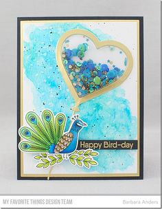 Stamps: Playful Peacock Die-namics: Playful Peacock, Heart Shaker Window & Frame, A2 Rectangle STAX Set 1 Barbara Anders #mftstamps