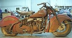 Vintage Motorcycles Classic Bonny Barn Find: 1947 Indian Chief Bonneville - Learn more about Bonny Barn Find: 1947 Indian Chief Bonneville on Bring a Trailer, the home of the best vintage and classic cars online. Indian Motorbike, Vintage Indian Motorcycles, Antique Motorcycles, Triumph Motorcycles, Vintage Bikes, Cars And Motorcycles, Vintage Cars, Vintage Cycles, Ducati