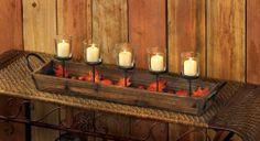 CANDLE HOLDER 2 RUSTIC AUTUMN WODDEN DISPLAY VOTIVE CANDLE HOLDER NEW~10015464