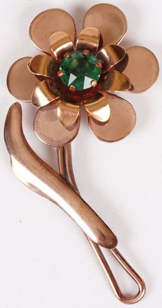 Vintage Copper Flower Brooch with Green Center Stone 1940s / 50s