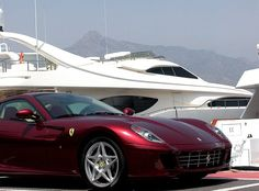 Ferrari and yacht in Puerto Banus Private Yacht, Private Jet, Luxury Car Hire, Luxury Cars, Costa, Commercial Landscaping, Nerja, Puerto Banus, Yacht Boat