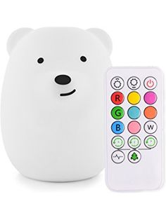 LumiPets Baby Night Light Nursery Lamp Bear - USB Rechargeable Wireless + Remote Control with Timer and Brightness Controls for Kids and Children
