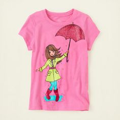 umbrella girl graphic tee
