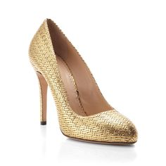 Charlotte Olympia Gold Jenny Court Shoe ($795) ❤ liked on Polyvore featuring shoes, pumps, leather sole shoes, slip on pumps, pull on shoes, slip on shoes y gold slip on shoes