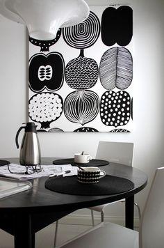 Kahvipöydässä, kangastaulu, Marimekko Inside A House, Interior Architecture, Interior Design, Black And White Interior, Cute Home Decor, Shop Interiors, Scandinavian Interior, Home Textile, Ideal Home