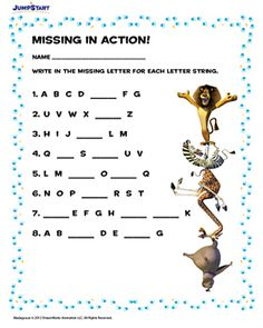 Missing In Action - Free worksheet with her favorite critters from Madagascar!