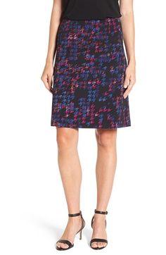 Ellen Tracy Houndstooth A-Line Skirt