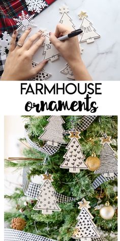 DIY Farmhouse Ornaments Farmhouse Ornaments: a simple farmhouse decor DIY for your Christmas tree! White modeling clay, black and gold sharpie markers, and a touch of ribbon are all you need to make these simple farmhouse ornaments. Clay Christmas Decorations, Christmas Ornament Crafts, Felt Christmas, Rustic Christmas, Christmas Projects, Holiday Crafts, Farmhouse Christmas Ornaments Diy, Simple Christmas Tree Decorations, Diy Christmas Tree Garland
