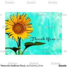 Watercolor Sunflower Floral Thank You Postcard This beautiful thank you features nature landscape photography of a beautiful summer sunflower with a blue - green watercolor background. Photographed at the Forks Of The River Wildlife Management Area in one of the many fields of flowers there. Matching products are available in my shop.