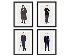 A modern set of Sherlock Minimal Prints - Sherlock Holmes  John Watson  Mycroft Holmes  Moriarty