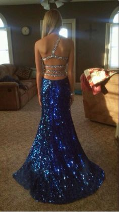 Blue and silver sparkle prom dress
